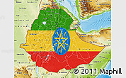 Flag Map of Ethiopia, physical outside