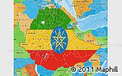 Flag Map of Ethiopia, political outside