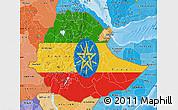 Flag Map of Ethiopia, political shades outside