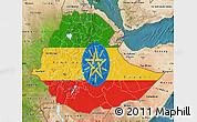 Flag Map of Ethiopia, satellite outside