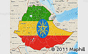 Flag Map of Ethiopia, shaded relief outside