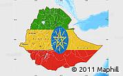 Flag Map of Ethiopia, single color outside, bathymetry sea