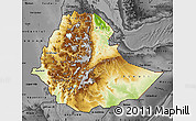 Physical Map of Ethiopia, darken, desaturated
