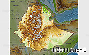 Physical Map of Ethiopia, darken