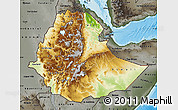 Physical Map of Ethiopia, darken, semi-desaturated, land only