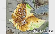 Physical Map of Ethiopia, darken, semi-desaturated