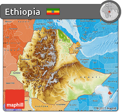 Free Physical Map of Ethiopia political shades outside shaded