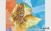 Physical Map of Ethiopia, political shades outside, shaded relief sea