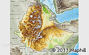 Physical Map of Ethiopia, semi-desaturated, land only