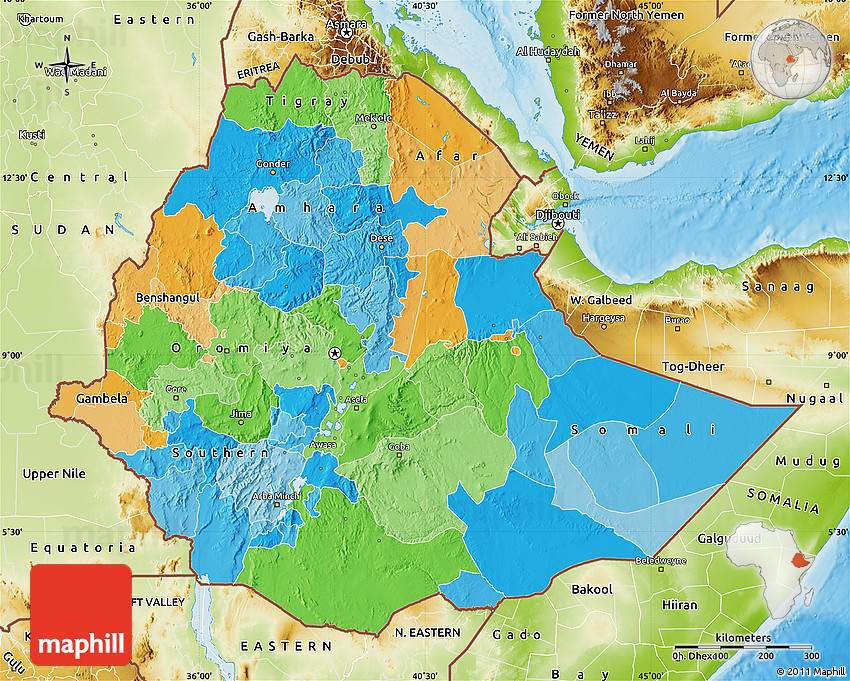 Political Map of Ethiopia physical outside