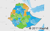 Political Map of Ethiopia, single color outside
