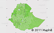 Political Shades Map of Ethiopia, cropped outside