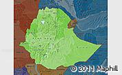 Political Shades Map of Ethiopia, darken