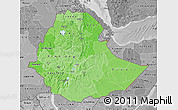 Political Shades Map of Ethiopia, desaturated