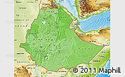Political Shades Map of Ethiopia, physical outside