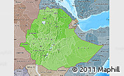 Political Shades Map of Ethiopia, semi-desaturated, land only