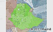 Political Shades Map of Ethiopia, semi-desaturated