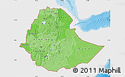Political Shades Map of Ethiopia, single color outside