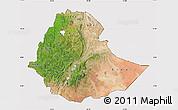 Satellite Map of Ethiopia, cropped outside