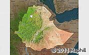 Satellite Map of Ethiopia, darken