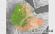 Satellite Map of Ethiopia, desaturated