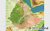 Satellite Map of Ethiopia, physical outside, satellite sea