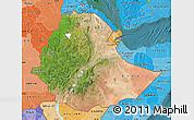 Satellite Map of Ethiopia, political shades outside, satellite sea