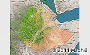 Satellite Map of Ethiopia, semi-desaturated, land only