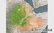 Satellite Map of Ethiopia, semi-desaturated