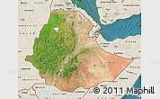Satellite Map of Ethiopia, shaded relief outside, satellite sea