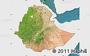 Satellite Map of Ethiopia, single color outside