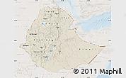 Shaded Relief Map of Ethiopia, lighten