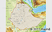 Shaded Relief Map of Ethiopia, physical outside