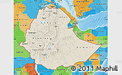 Shaded Relief Map of Ethiopia, political outside, shaded relief sea