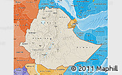 Shaded Relief Map of Ethiopia, political shades outside, shaded relief sea