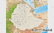 Shaded Relief Map of Ethiopia, satellite outside, shaded relief sea