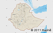 Shaded Relief Map of Ethiopia, single color outside