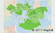 Political Shades 3D Map of Oromiya, lighten