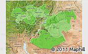 Political Shades 3D Map of Oromiya, satellite outside