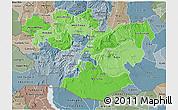 Political Shades 3D Map of Oromiya, semi-desaturated
