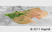 Satellite Panoramic Map of Bale, lighten, desaturated