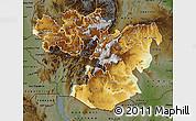 Physical Map of Oromiya, darken