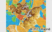 Physical Map of Oromiya, political outside