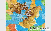 Physical Map of Oromiya, political shades outside