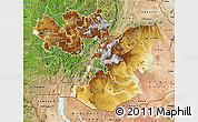Physical Map of Oromiya, satellite outside