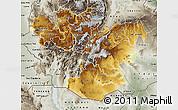 Physical Map of Oromiya, semi-desaturated