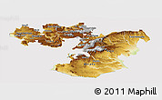 Physical Panoramic Map of Oromiya, cropped outside