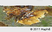 Physical Panoramic Map of Oromiya, darken