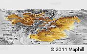 Physical Panoramic Map of Oromiya, desaturated