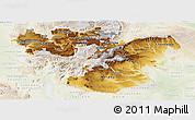 Physical Panoramic Map of Oromiya, lighten